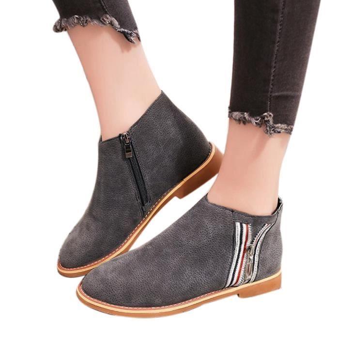 a1a2d37480d8 Confortable Femmes Plates Chaussures Bottines Vintage Cuir Libaib De Mode  gris Botte Souple En wxgUP41q