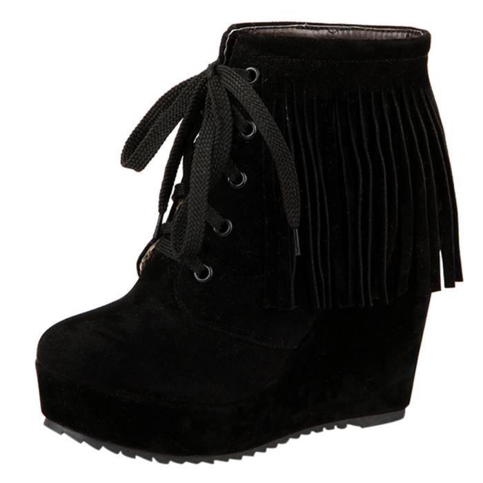 Haut Bottes Mode Noir Chaussures Femmes Tassel Compensées Court Talon Lace up xwqzYRTS