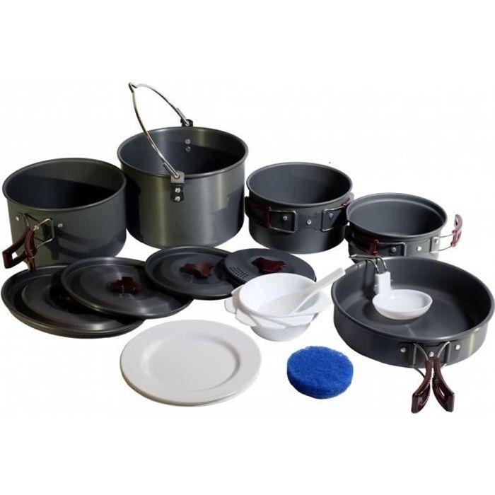 Conception innovante 60f6c 8db96 Vaisselle camping Kit batterie cuisine empilable 6-7 personnes. Popote  camping aluminium extra leger-bivouac-randonnée