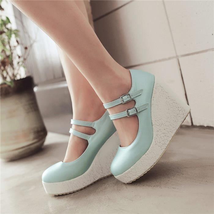 Chaussures Femme En PU Cuir Ronde Plateforme Toutes les pointures de la 35 à la 43