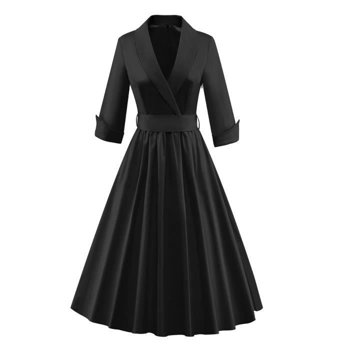 50s 40s élégant 60 femmes Rockabilly 3-4 manches bowknot cocktail Vintage swing Bridsmaid Robe 2OZVD1 Taille-38