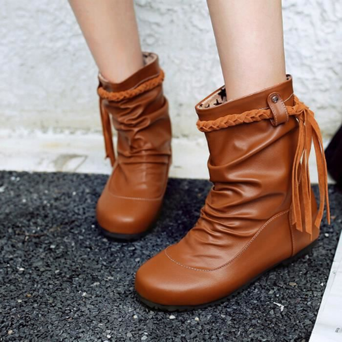 Tressé Talon Tassel Chaussures Bottes Moyen Orange Femmes 11 Doux Ceinture Slope Antidérapant AHnx6wTYn