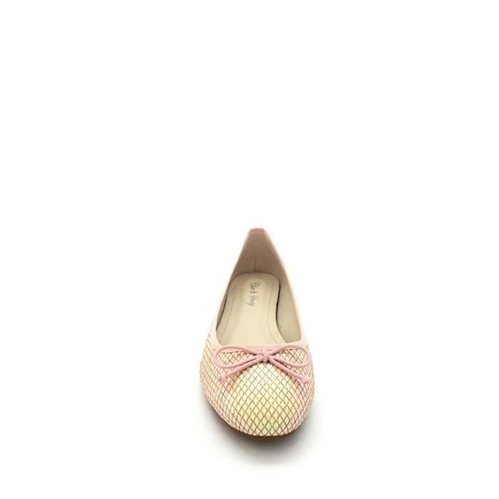 CHIC NANA . Ballerine PU, ornée de strass et petit cristaux fantaisie en couleur Rose 41