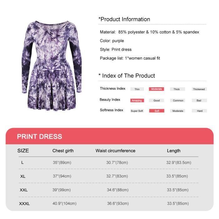 Fitibest Raglan Robe manches Robe imprimée irrégulière robe ronde à manches courtes pour femmes, Violet