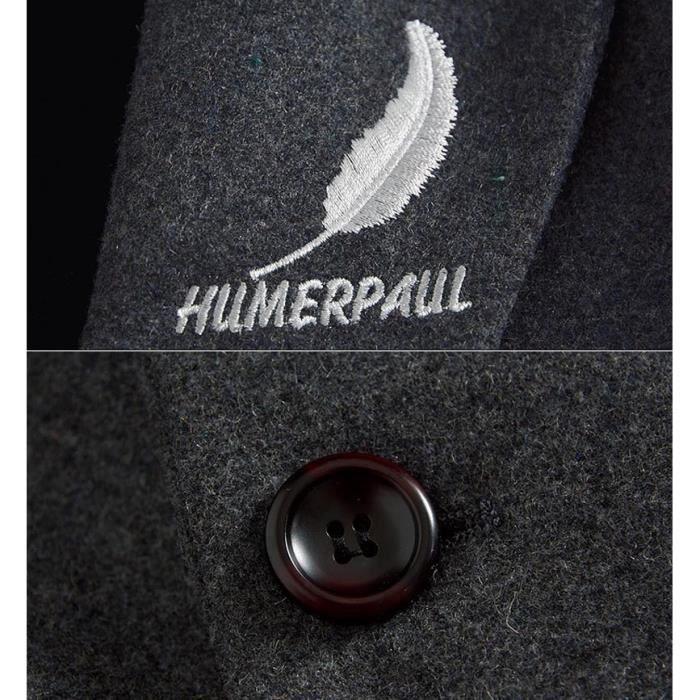 Doublé Polaire Broderie Chaud Unie Trench Coat Hiver Homme Laine Slim Fit Manteau Couleur Z6vxn0Y