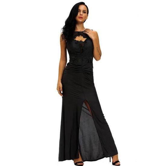 66e93a1c441 Robe longue noire élégante avec fente et décolleté brodé
