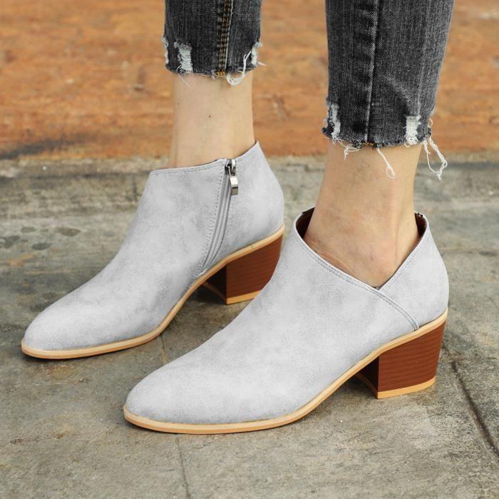 Cuir Clair Chaussures Benjanies Courtesbleu Mode Bottes Cheville Martin Solide Automne Femmes IAq6x