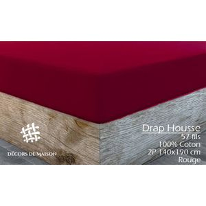 DRAP HOUSSE Drap Housse Uni 2 Personnes 140X190 cm - Rouge -Dé