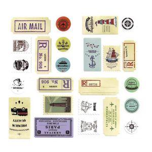 STICKER SCRAPBOOKING Lot de Stickers Timbres Vintage Autocollants Décor