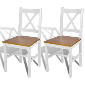 CHAISE Lot de 2 Chaises en bois blanc et naturel - -
