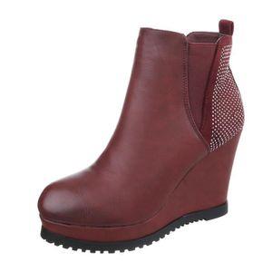 BOTTINE Chaussures femme bottillon Talon compensé Plateau