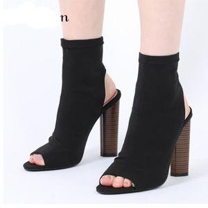 chaussures bottine femme ouverte devant et derri re noir noir achat vente bottine cdiscount. Black Bedroom Furniture Sets. Home Design Ideas
