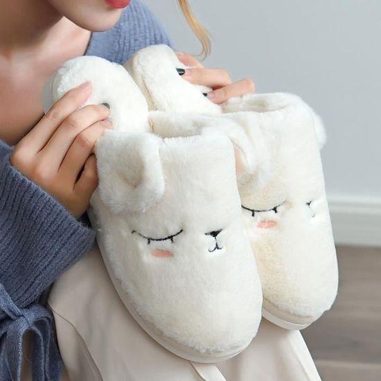 Blanc Et Pour Femmes Pantoufles Coton qMVUSzp