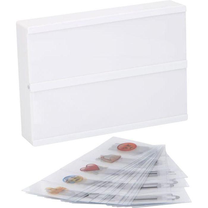 Boîte lumineuse à message Lightbox - Format A5 - 21 x 15 x 4 cm - 8 LED avec 100 caractères - Blanc