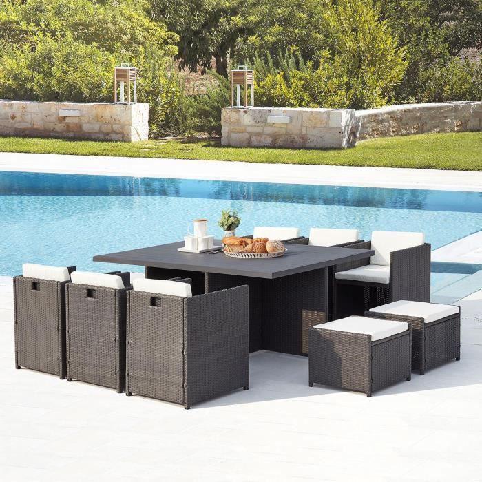 Ensemble table et chaise de jardin Le Kaolino : salon de jardin encastrable 10 places
