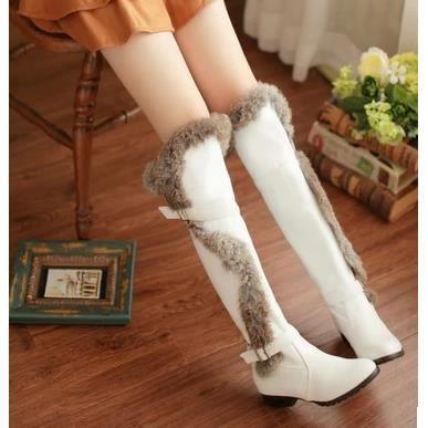 Les souliers d'hiver cuissardes bottes à talons hauts bottes Martin bottes coréennes, blanc 38