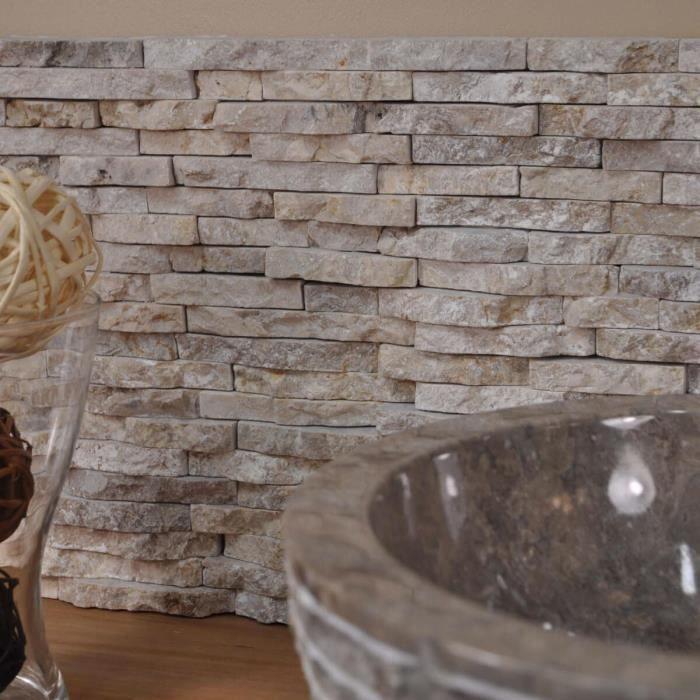 parement en pierre naturelle marbre brut cr me achat. Black Bedroom Furniture Sets. Home Design Ideas