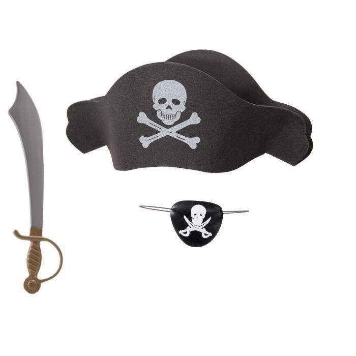 CHAPEAU - PERRUQUE Kit de déguisement pirate (KV-67), ensemble de 3 a