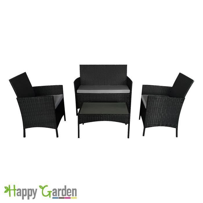 Salon jardin en résine tressée noir coussin gris - Achat ...
