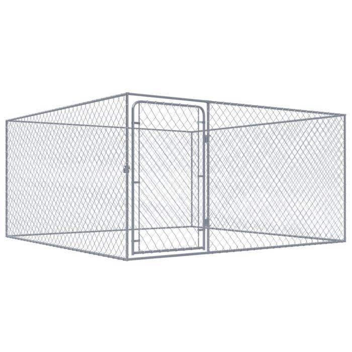 Homgeek Chenil Extérieur | Clôture Cage Enclos Jardin Pour Chien Acier Galvanisé 2 X M