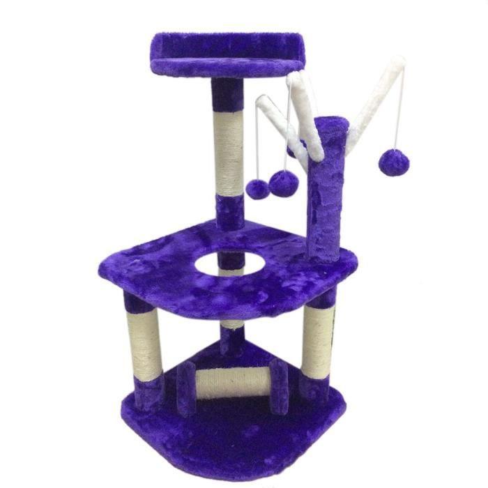 Arbre A Chat 90cm Hauteur Avec Pompon Violet Foncé