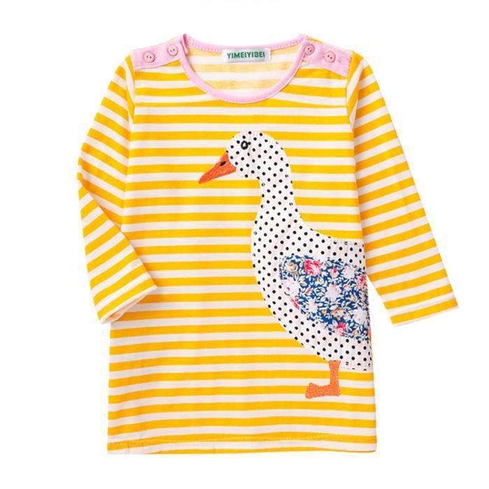Filles Tee Shirt Adorable Rayé Robe Printemps et Automne