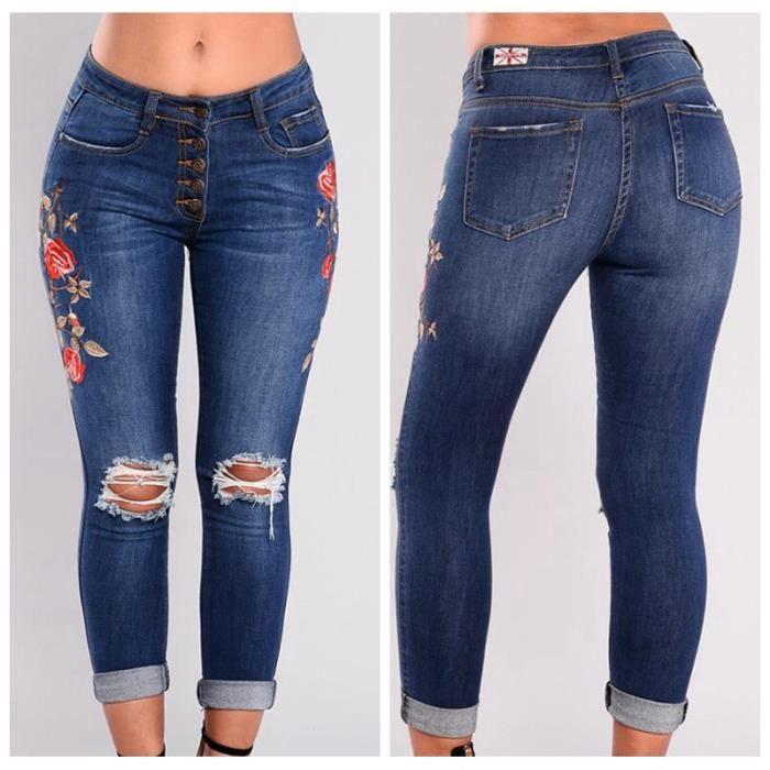 e7d886f1402c Pantalons Femme Denim Jeans Slim Fit Taille Haute Broderie Imprimé Vintage Leggings  Sexy Collant Crayon Déchirés