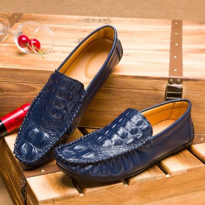 Mode Cuir Chaussures Hommes Respirant Souliers simple d'homme Side Slip fermeture à glissière Mocassins Flats,noir,7