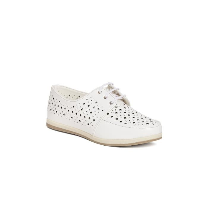 les femmes blanches laser coupe solide bout rond à lacets up derby chaussures plates OF5IU Taille-38