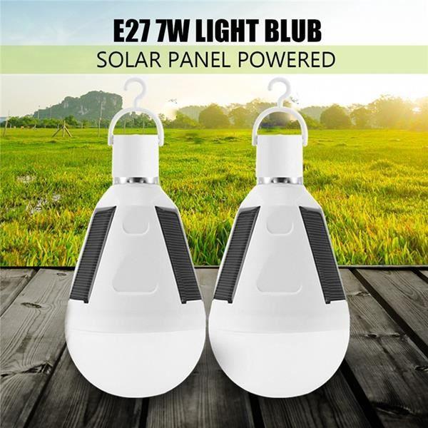 AMPOULE - LED TEMPSA Lot de 2Pcs E27 LED Ampoule Solaire Portabl