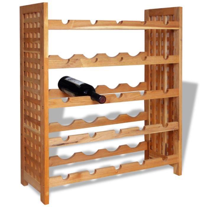 ce casier à bouteilles de vin en bois offre un espace de rangement
