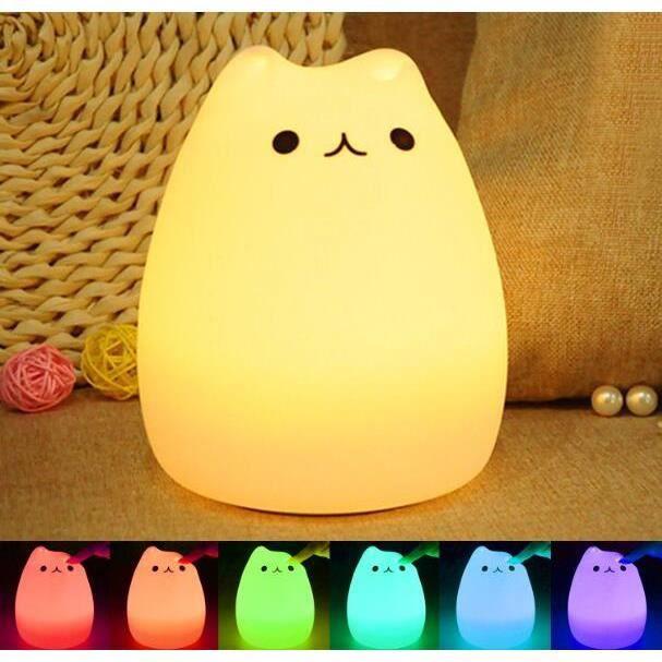 lampe Pour Tente E En Enfant Led Nuit Multicolore Chevet Chat Veilleuse Silicone Cadeau Led De Enfants Portable Jouets Cam I2EDH9eWY