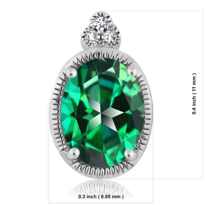Pendentif En Or Blanc 10k - Topaze Swarovski verte tropical ovale et Diamant - 1.00 ct