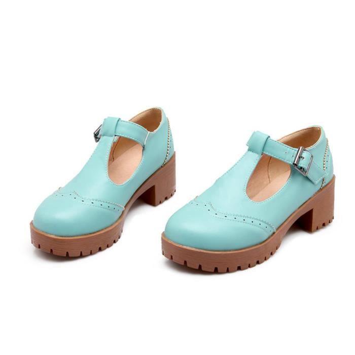 Chaussures Femme Plateforme En PU Cuir Ronde élégante Toutes les pointures de la 35 à la 43 9d89Xjwu