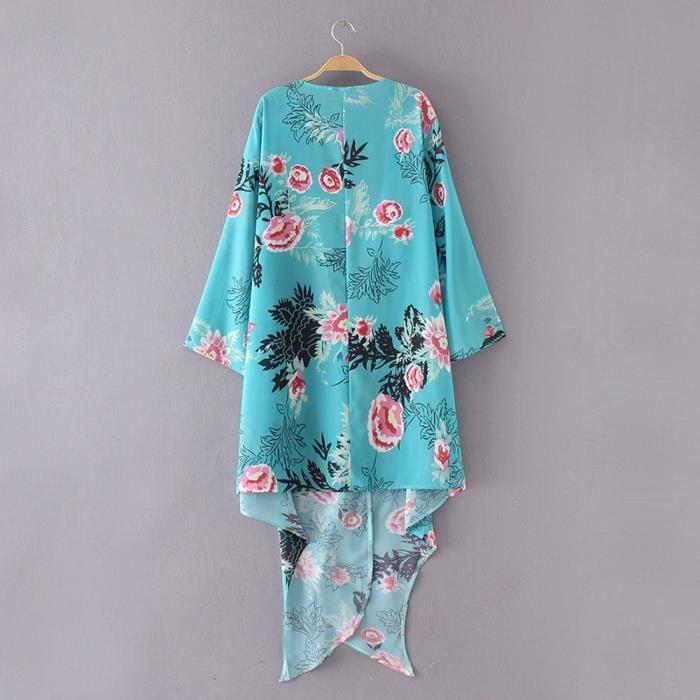Irrégulier En Chemisier Châle Haut Floral Vrac Bleu Cardigan Femmes Imprimé Recouvrir Kimono FBxnOxq1