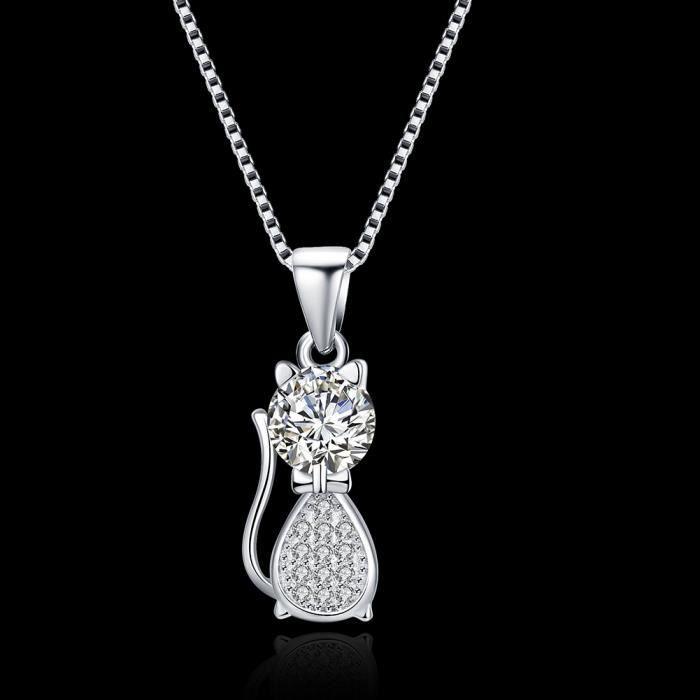 MERRILL Collier Argent 925-1000 Swarovski Elements Cristal Pendentif avec Chaîne pour femme - Pendentif chat avec AAA Cristal