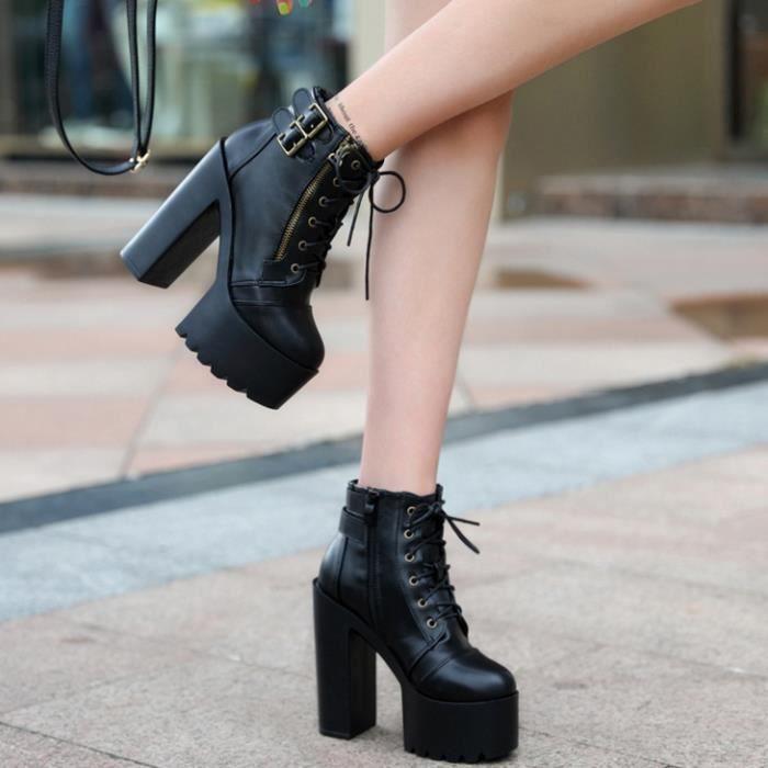GLAM®des femmes au printemps de plate - forme martin bottes à talons de chaussures - éclair