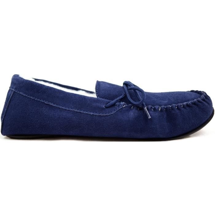 Suede Sheepskin Moccasin Slippers With Rubber Sole RCH8G Taille-49 1-2 NZwIC9WR8