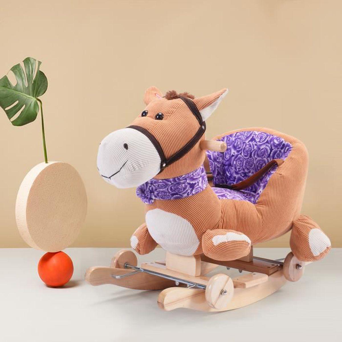 Cheval à bascule jouet pour bébé Balançoire à peluche sonore pluieurs  animaux a9c78756993d