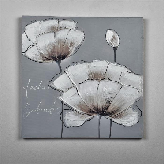 Tableau gris et blanc achat vente tableau gris et - Toile peinte pas cher ...