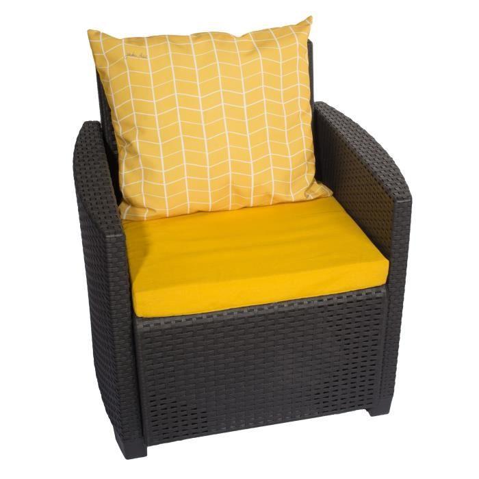 Jardin prive set de 2 coussins assise dossier pour salon de jardin oslo 54 x 50 x 6 cm jaune safran