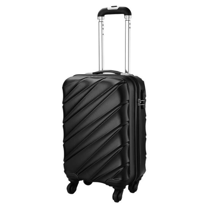 088a273f14 Cabin Max Tuscany Ultra Léger 2.4kg ABS Coque Solide Voyage Transport  Bagage Cabine Bagage à Main Valise à 4 Roulettes(NOIR)