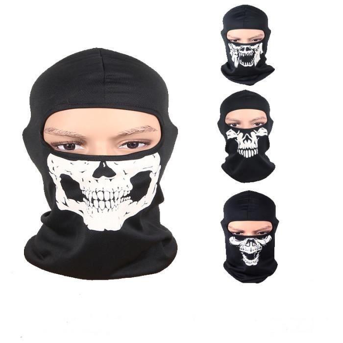 2Pcs Crâne Bandana Bonnet Écharpe Hijab Cape Foulard Vélo Tour de Cou Moto  Casque Cou Col Roulé Sport Air Masque Tête de Mort Noir e84c34e1aa3