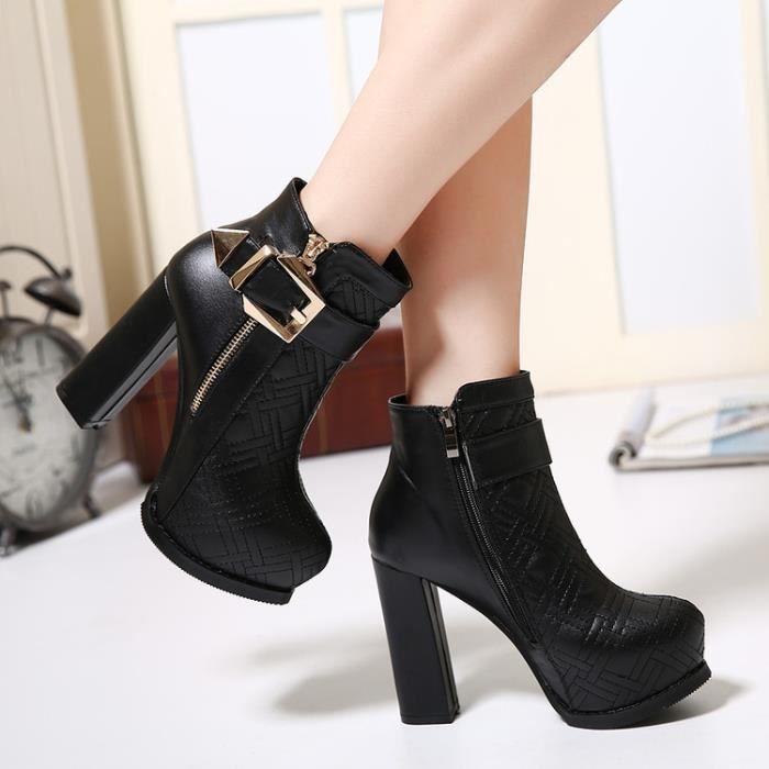 martin boots-Pure Color Haut Talonpais de femmes Avec Bottes Side Zippers Buckle