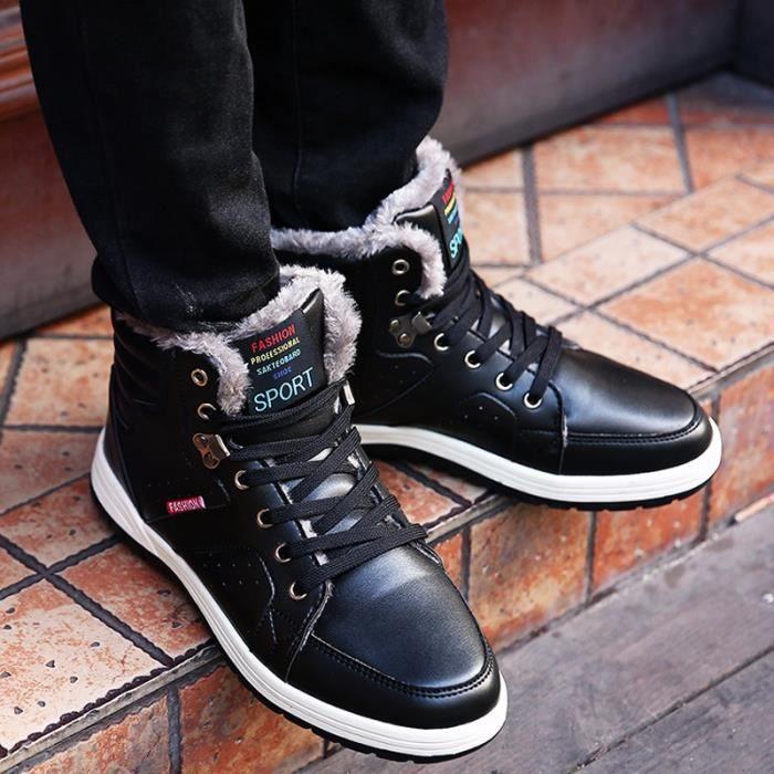 air Hommes grands cuir Bottes en en antidérapante Chaussures chaud souple plein de neige 7qFUdxR7