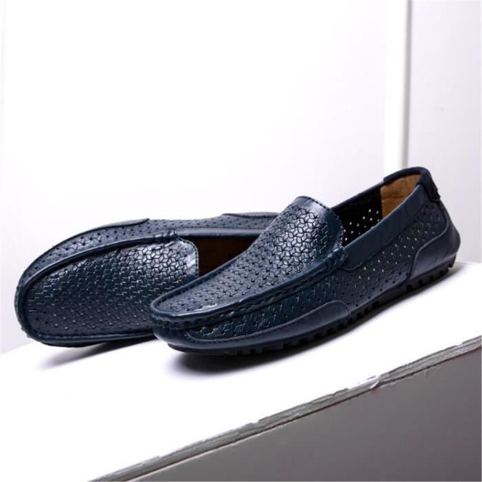 homme chaussure Respirant 2017 Luxe ete Cuir véritable Moccasin Poids Léger Antidérapant Grande Taille 38-44
