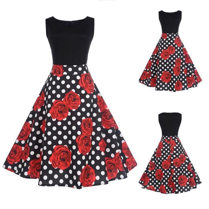 exquisgift®Rose floral élégant sans manches Vintage thé Hepburn robe de bal NOIR~YSZ71205495A