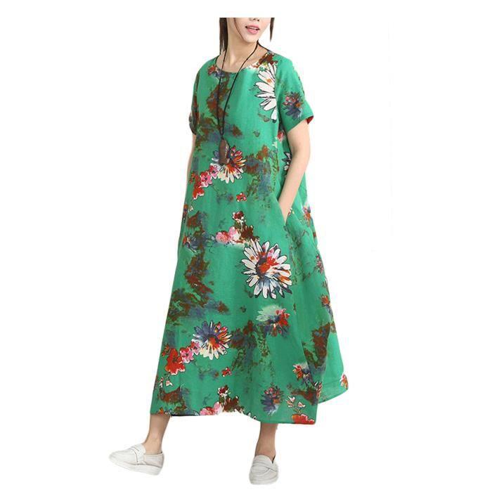 Robe de femmes à manches courtes Floral Maxi Robe longue 7149758