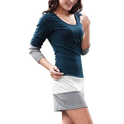 Taille Mode Mesdames noires à et Automne printemps Grand longues manches Robe s571 surpiqures dhiver wYxqCfWIU