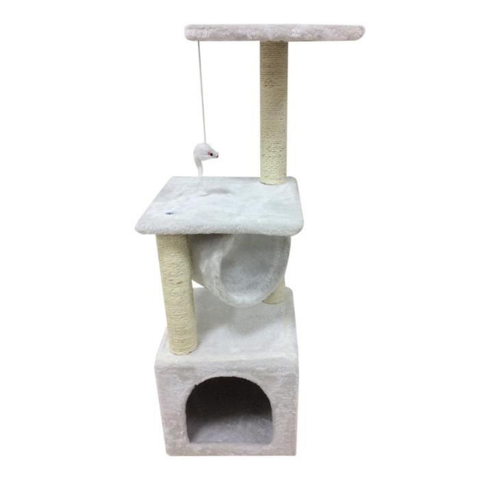 Arbre A Chat 90 Cm Hauteur Peluche Douce Pour Gratter Blanc
